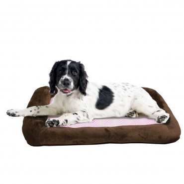Otto Ruff + Ready Pet Bed Chocolate Brown Large With Cooling Pad - 34 in